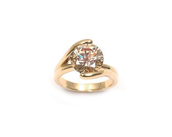 Ring plate Solitaire Champagne gold