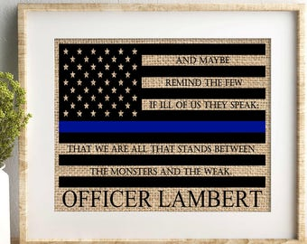 police officer gift police officer gifts law enforcement gift police academy gift thin blue line officer gift leo gift burlap print