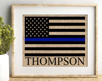 police officer gift police officer police gift thin blue line flag police officer gifts retirement gift burlap print