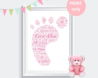 Personalised New Baby Christening Word Art Print Gift