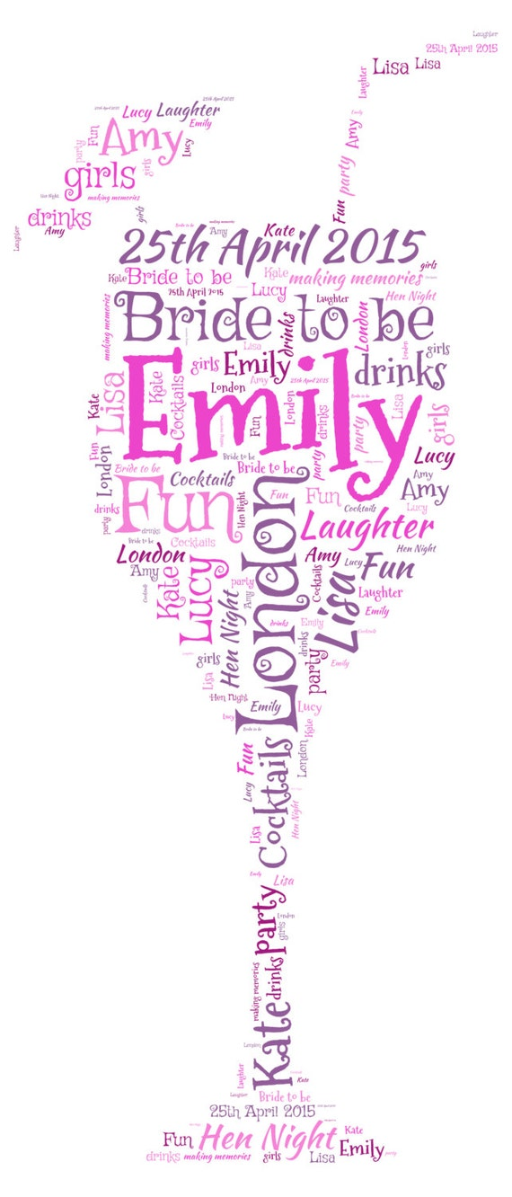 Personalised Word Art Cocktail Glass Picture Print Hen Gift