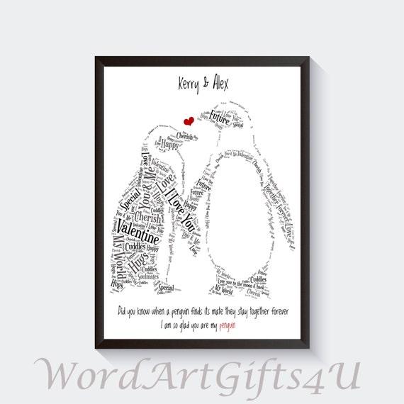 Personnalisé St-Valentin carte pingouins mari femme copain copine