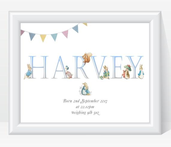 Personalised Framed Word art Boys New Baby Nursery Wall Print Christening Gift
