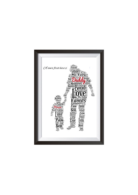 word art picture personalised gift present keepsake goldfinch Birthday DAD son