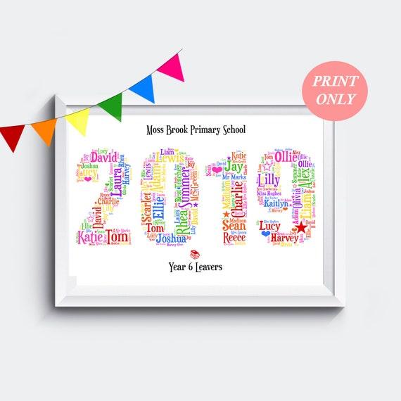 Personalised Class Of 2019 School Leavers Print Teacher Thank You Gift Keepsake
