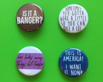 Tom Haverford / Parks and Recreation Pinback Button Set