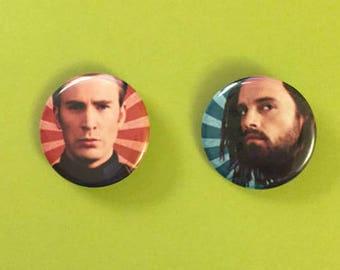 Steve Rogers / Bucky Barnes / Captain America / Winter Soldier Pinback Buttons