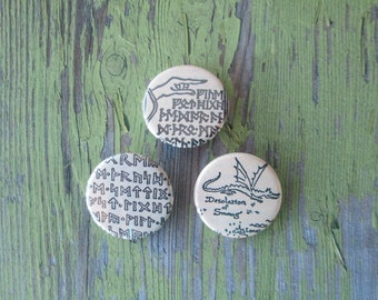 The Hobbit Thorin's Map Pinback Buttons (or Magnets) - Set of 3