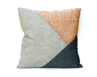 Geometric Linen Throw Cushion, 18 x 18 inch/ Decorative Pillow Case/ Home Decor Cushion Cover/ Red Blue Gray pillow/ Modern Decor