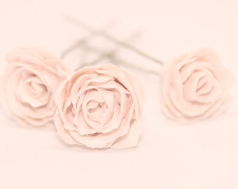 Bridal Rose Hairpins White Polymer Clay Flower Hair Accessory, Delicate Wedding Accessory