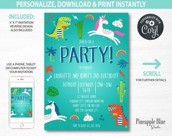 dinosaur and unicorn birthday party invitation joint party etsy