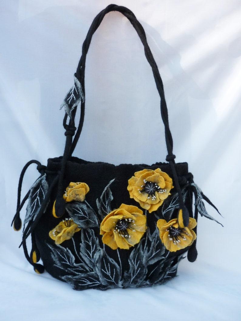 large handmade bag SALE handbags Fairy tale gift shoulders bags shopping bag spring bag poppies black bag designer bag felted bag hippie bag