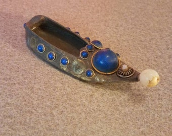 Brass Shoe Ashtray with colorful stones
