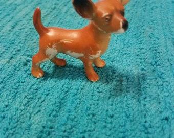 Tan and Brown Dog Figurine miniature