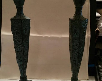 Dutch Repousse Bronze Guilded Candle Holders