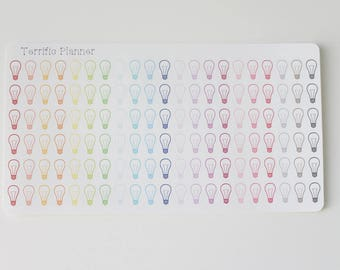 126 multi light bulb electric stickers  For Planners  #25