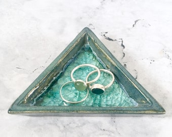 Triangular Ring Plate - Geometric Pottery - Ceramic Trinket Bowl - Modern Home Decor - Housewarming Gift - Blue Pottery - Engagement Gift