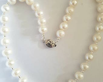 Bridal wear, Large pearl necklace, Cultured pearls, freshwater pearl 10 - 12mm  potato pearls. With sterling silver beads, box clasp, uk