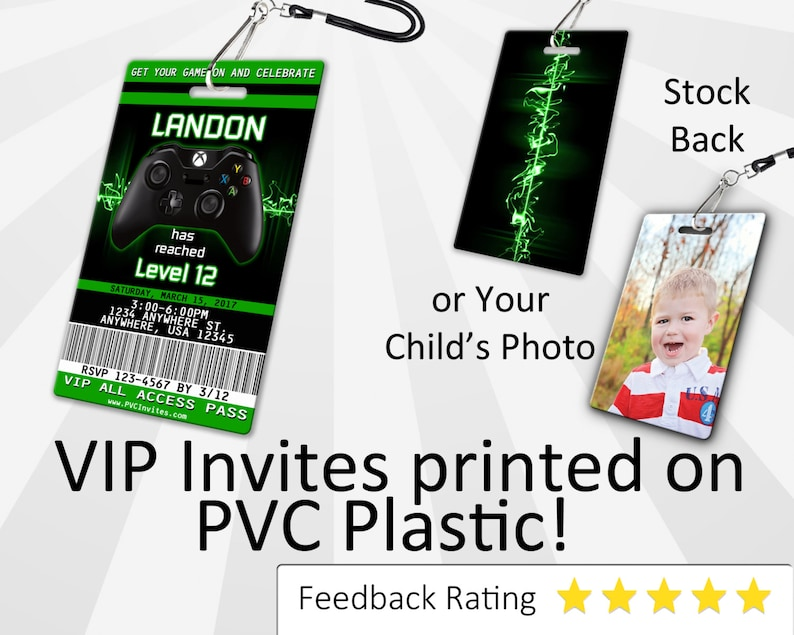 Xbox Invitation PLASTIC Birthday Invite One SKU INV111