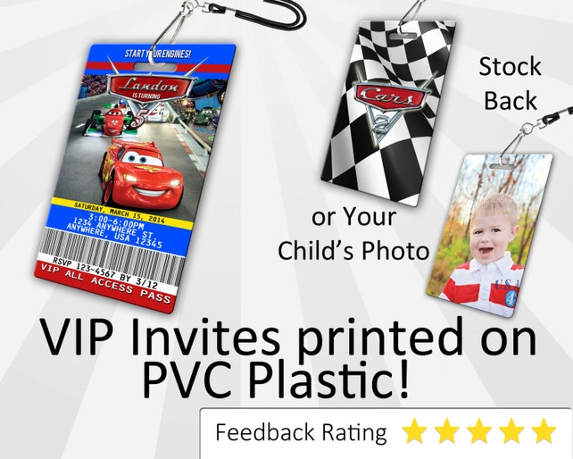 Cars 2 Birthday Invitation PLASTIC Invite