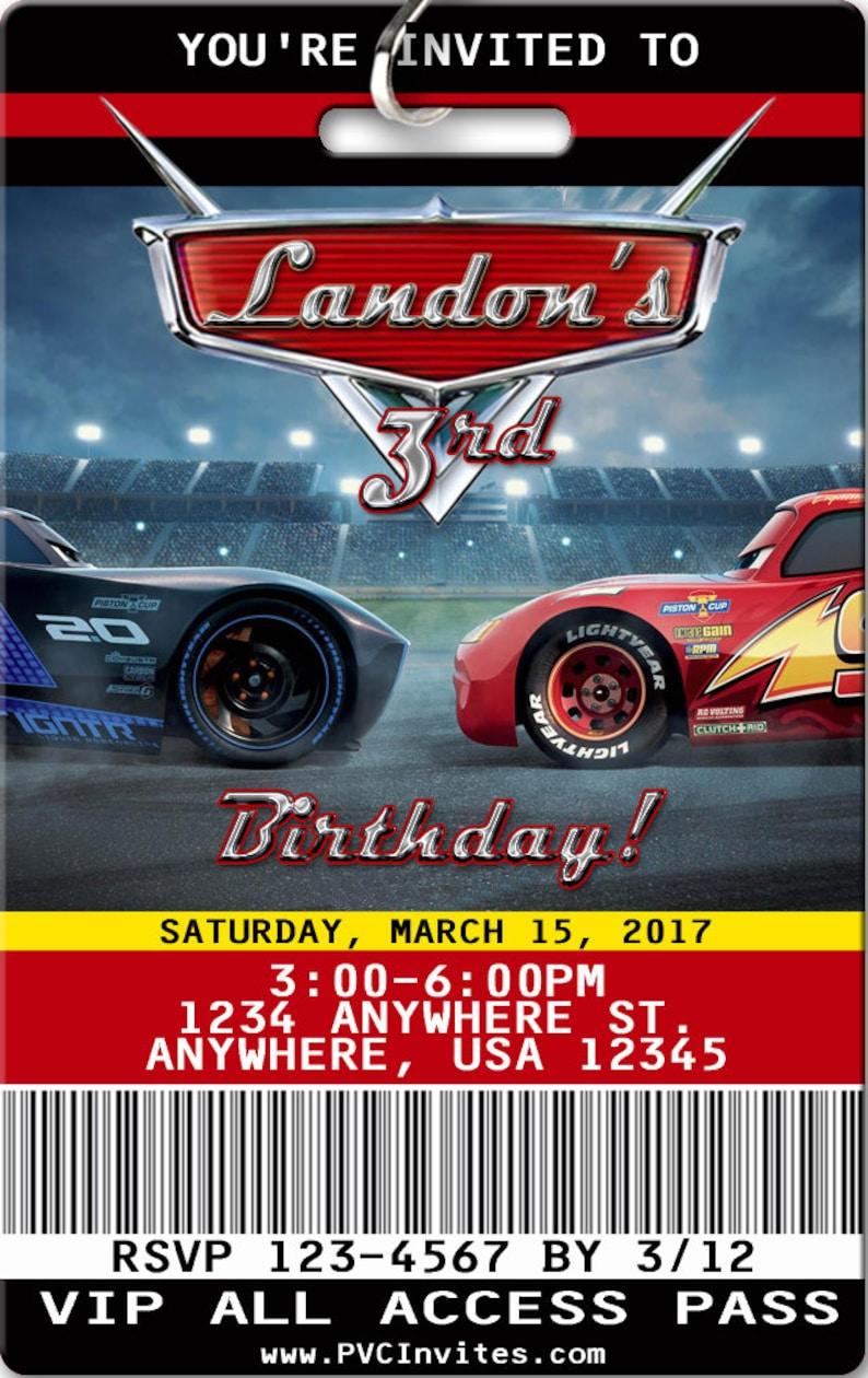 Cars 3 Birthday Invitation PLASTIC