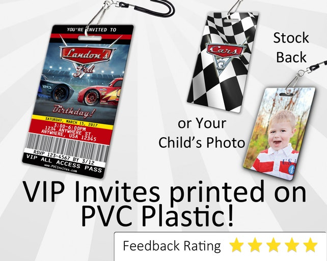 Cars 3 Birthday Invitation PLASTIC Invite