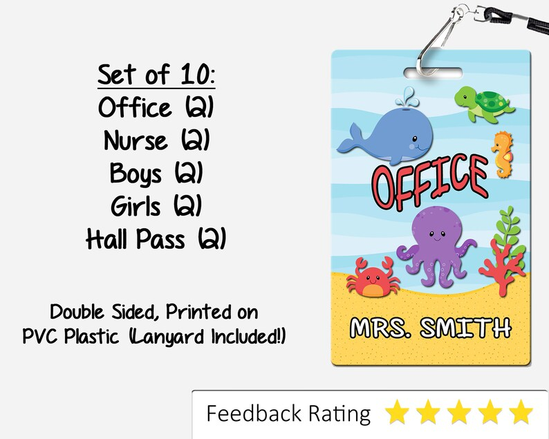 Under The Sea Theme Classroom Hall Passes For Teachers Personalized Set Of 10