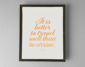 Printable | Buddha | Travel Well | Inspirational Quote Poster | Digital File | INSTANT DOWNLOAD