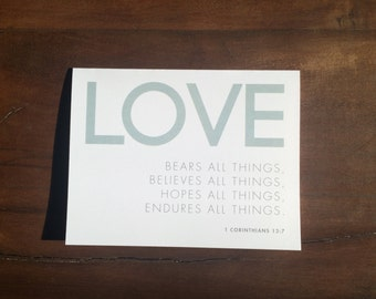 Printable | 1 Corinthians 13:7 | Love Bears All Things | Inspirational Quote Card | Digital File | INSTANT DOWNLOAD