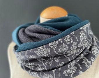 Loop Loop Scarf Scarf Hose Scarf Cotton Petrol Knit Grey