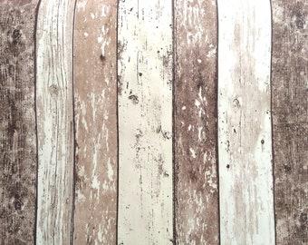 NEW PVC PLASTIC VINYL TABLE CLOTH RUSTIC EFFECT FLOORBOARD GHOUDA NATURAL BROWN