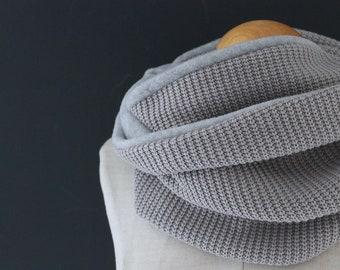 Loop scarf Loop Hose Scarf Scarf Grey Knit Wrap Scarf