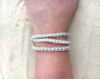 White and beige, wrap bracelet, clasp, wrap, adjustable