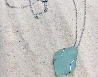 Sea glass, blue sea glass, wire wrapped, necklace, adjustable, chain, silver