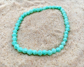 Glass bead bracelets, glass, blue, turquoise, stretch bracelet