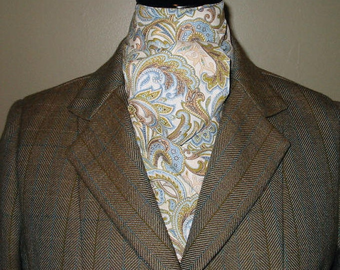 Light Blue, Olive and Cream Paisley Stock Tie