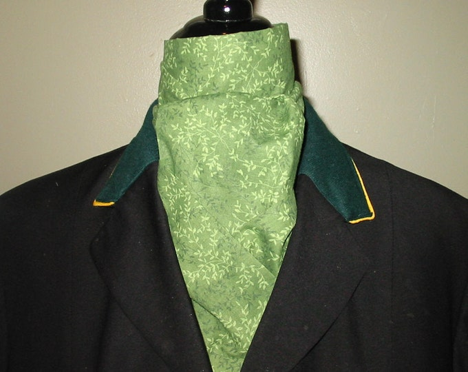 Medium Green with Light Green Vines 2 -Fold Stock Tie