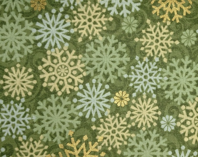 Green and Gold snowflake stock tie