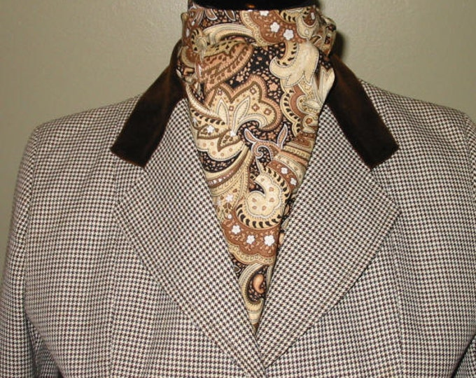 Brown/Cream/Tan Paisley Stock Tie