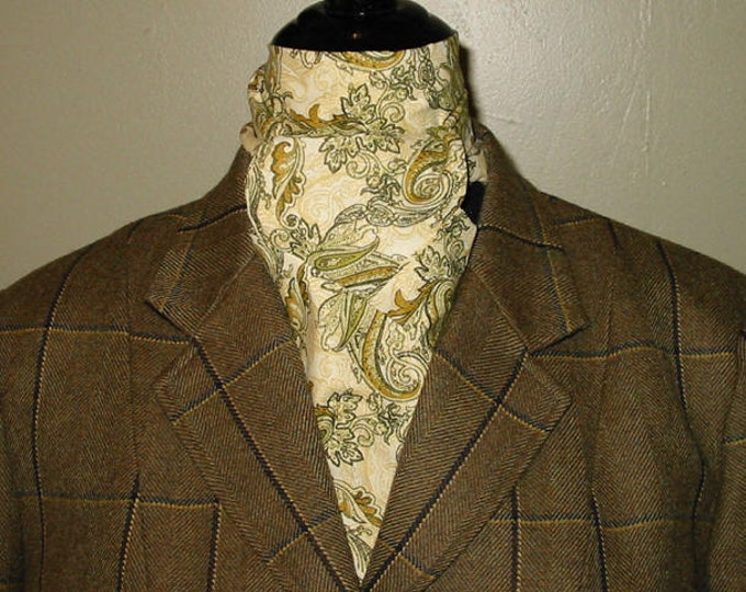 Sage and Cream Paisley Stock Tie