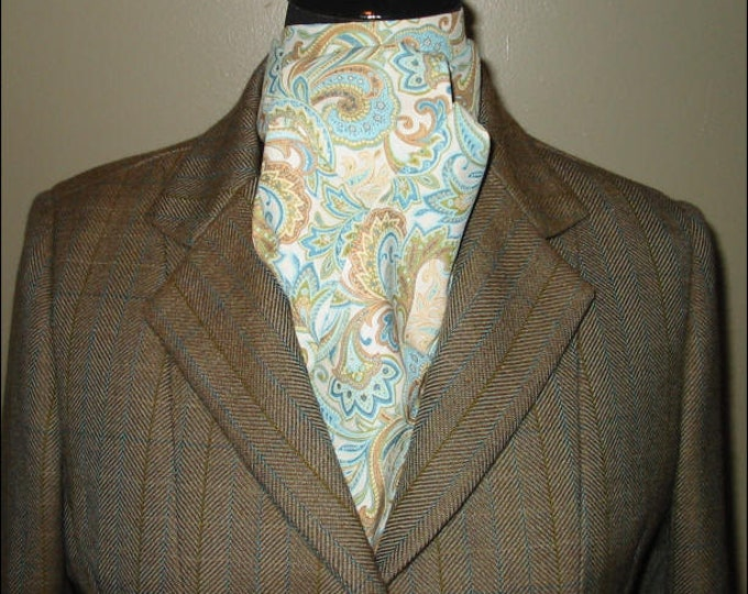 Cream/Teal Paisley Stock Tie