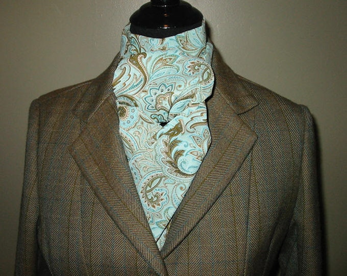 Teal Brown Paisley Stock Tie