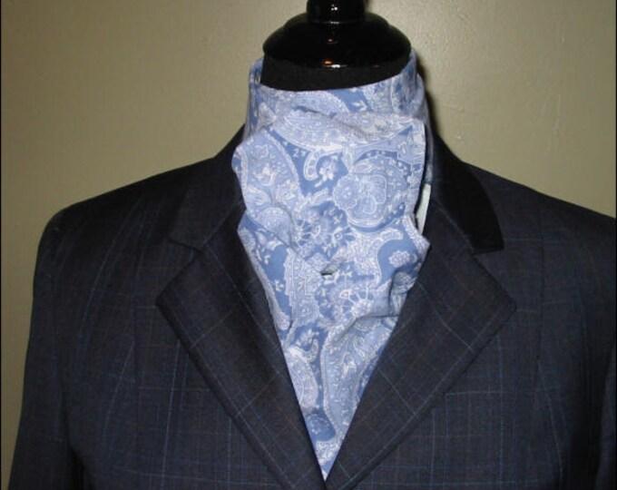 Medium Blue and White Paisley Stock Tie