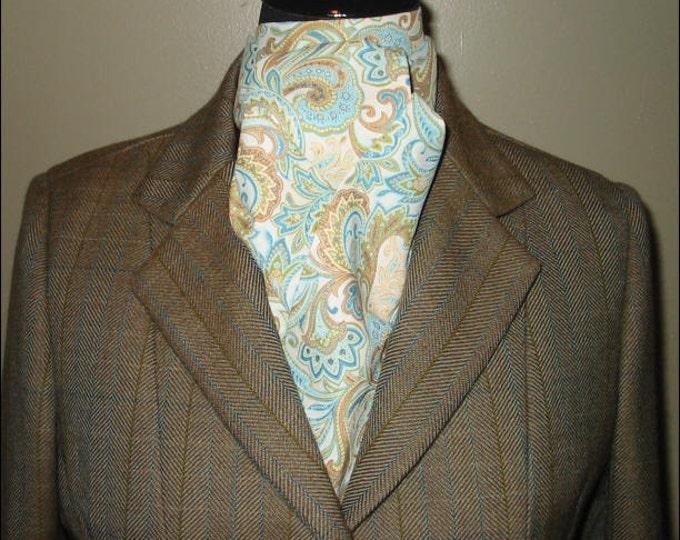 Cream/Teal Paisley Stock Tie