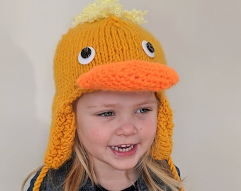Hand Knit Yellow Duck Hat for Kids - Animal Hats and Accessories - Easter Rubber Duck Hat with Ear Flaps and Tassles