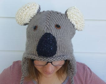 179a0daf47962 Cute Koala Knit Hat - Winter Hats with Earflaps and Tassels - Animal Hats  for Kids and Adults