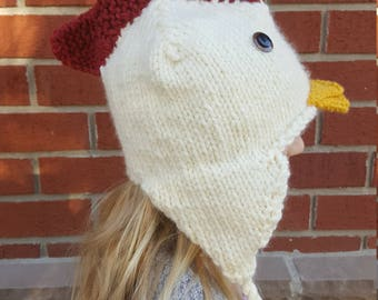 d7d8863f36a Handknit Chicken Hat with Tassels and Ear Flaps - Kids and Adults - Winter  Animal Hats