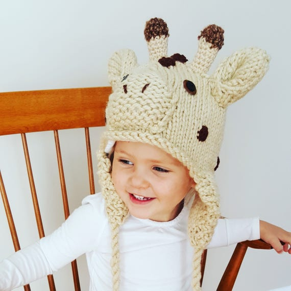 78b3eea9f39 Adorable Kids Hand Knit Giraffe Hat Flannel Lined with Ear