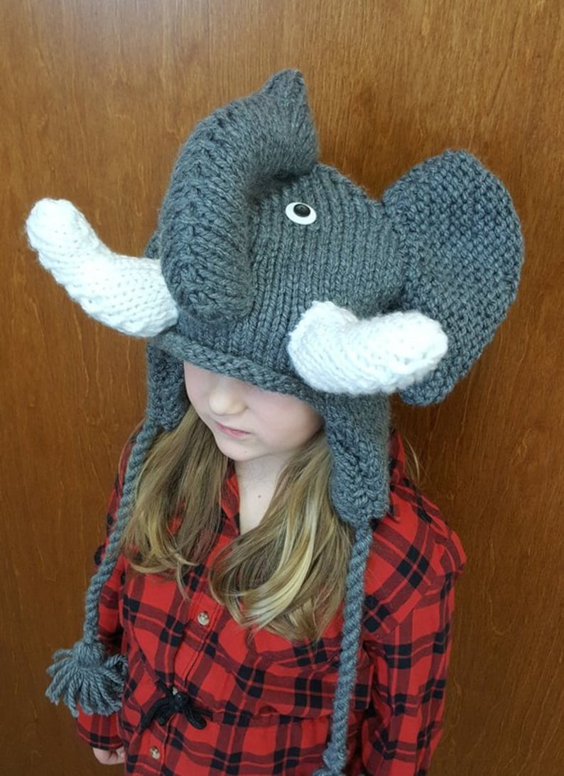 e02bc831fbe Hand Knit Elephant Hat with Tassels and Ear Flaps Toddler