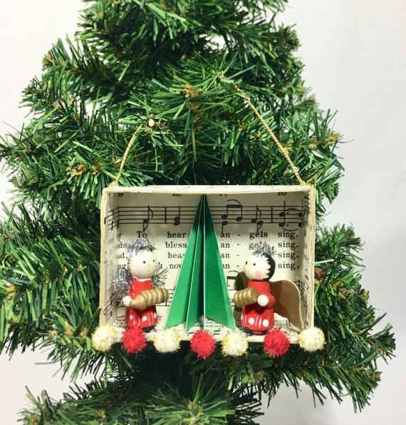 Tiny Christmas.Tiny Christmas Shadow Box Ornament Vintage Christmas Tree Ornament Miniature Winter Holiday Diorama Ornament
